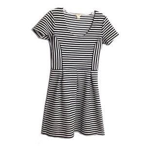 J. Crew Factory Fit & Flare Black White Dress 0